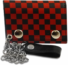 Red Checkerboard Genuine Leather Chain Wallet