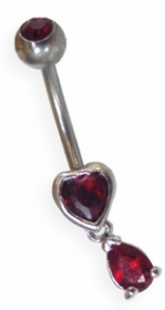 Red Heart Navel Jewelry