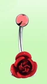 Navel Body Jewelry - Red Rose Belly Button Ring