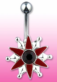 Navel Body Jewelry - Red Silver Star Navel Ring