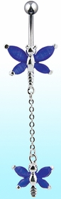 Navel Body Jewelry - Royal Blue Crystal Butterfly With Dangle