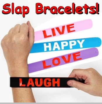 Rubber Saying Slap Bracelets<!-- Click to Enlarge-->