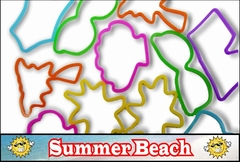 Rubberband Bracelets -Summer Beach Fun Shapes Rubber Band Bracelet (12 Pack)