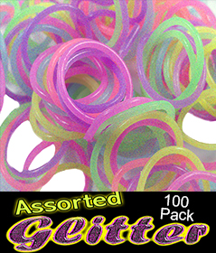 Rubberband Looms - Assorted Glitter Bands Refill Kit (100 Pieces)