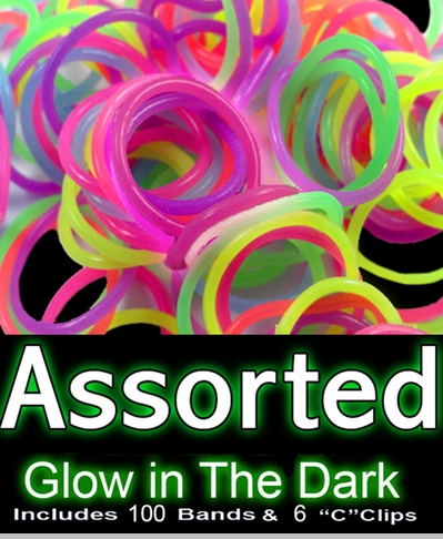 Rubberband Looms -Assorted Glow in the Dark Bands Refill Kit (100 Pieces) <!-- Click to Enlarge-->