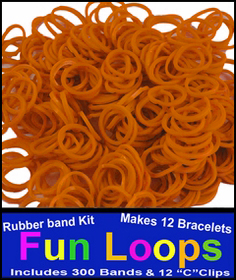 Orange Rubberband Looms - 300 Fun Loop Pieces