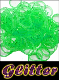 Rubberband Looms - Glitter Bands Refill Kit (100 Pieces) - Green