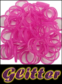 Rubberband Looms - Glitter Bands Refill Kit (100 Pieces) - Pink