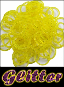 Rubberband Looms - Glitter Bands Refill Kit (100 Pieces) - Yellow