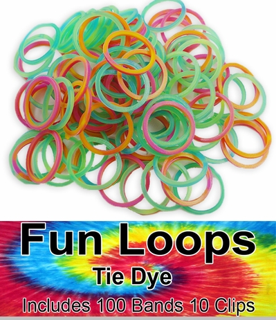Rubberband Looms - Tie Dye Bands Refill Kit (100 Pieces) - Rainbow<!-- Click to Enlarge-->