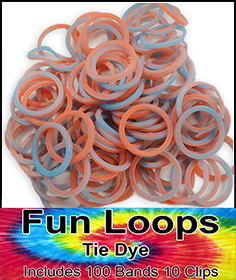 Rubberband Looms - Tie Dye Bands Refill Kit (100 Pieces) - Red/Blue