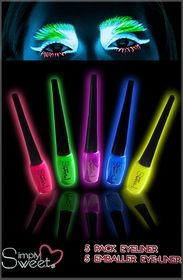 Set Of 5 Neon Black Light Glowing Eye Liner