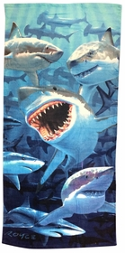 "Shark Invasion Beach and Bath Towel (28"" x 58"")"