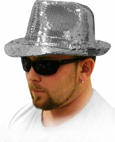 Show Time Sequin Fedora Hat (Silver)