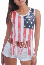 Shredded American Flag Ladies White Tank Top