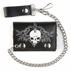Skull and Sword Black Leather Tri-Fold Wallet with 12 Inch Chain