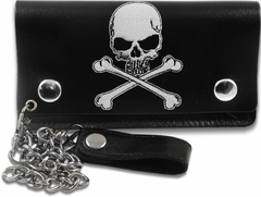 Skull & Crossbones 6 inch Biker Leather Chain Wallet