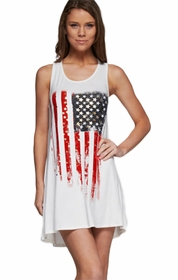 Sleeveless American Flag Print Tunic Dress (White)