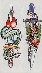 Snake/Tiger Knifes  Temporary FakeTattoo