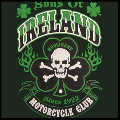 Sons of Ireland Shamrock Skull Biker Mens T-shirt