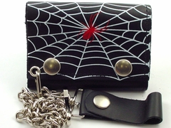 Spider Web Genuine Leather Chain Wallet