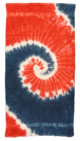 "Spiral Navy Blue / Red Tie Dye Beach and Bath Towel (28""x58"")"