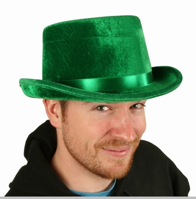 St. Patrick's Day Irish Green Velvet Top Hat<!-- Click to Enlarge-->