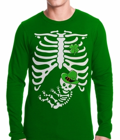 St. Patrick's Day Irish Pregnant Skeleton Thermal Shirt