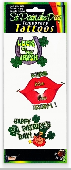 St. Patrick's Day Large Temporary Tattoos<!-- Click to Enlarge-->
