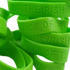 """St. Patrick's Day """"Luck Of The Irish"""" Silicone Rubber Bracelets (Set Of 12)"""