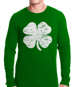St. Patrick's Day Vintage Distressed 4 Leaf Clover Thermal Shirt
