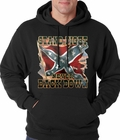 Stand, Fight and Never Back Down Confederate Rebel Flag Adult Hoodie