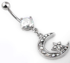 Navel Body Jewelry - Star & Moon C.Z. Navel Jewelry