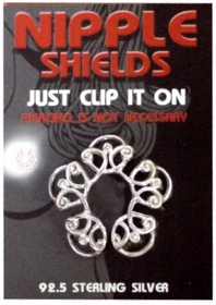 Sterling Silver Clip On Nipple Shields (Floral)