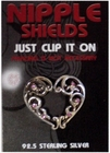 Sterling Silver Clip On Nipple Shields (Heart)