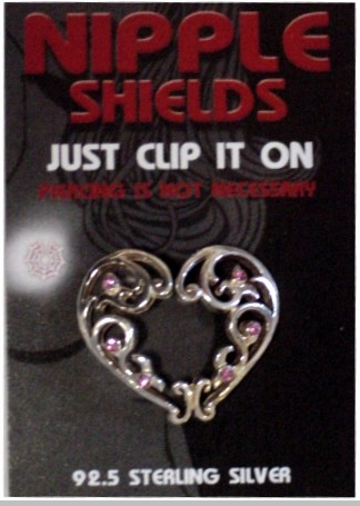 Sterling Silver Clip On Nipple Shields (Heart)<!-- Click to Enlarge-->