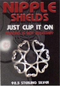 Sterling Silver Clip On Nipple Shields (Heart Circle)