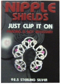 Sterling Silver Clip On Nipple Shields (Pink Gem Flower)