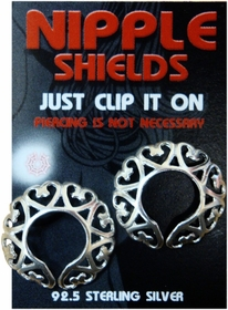 Sterling Silver Nipple Shields (Love Hearts) (Pair)