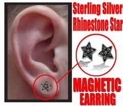 Sterling Silver Pair of Magnetic Star Earrings