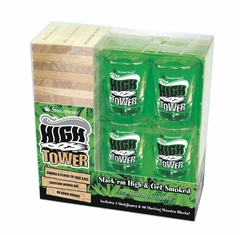 Stonerware High Tower Stacking Wooden Blocks, with 4 Shot Glasses Set