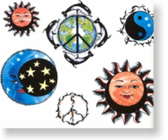 Sun/Moon Asst.  Temporary FakeTattoo