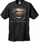 "Superman Man of Steel ""Man of Steel Shield"" Men's T-shirt on Black"