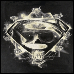 "Superman Man Of Steel ""Skulls and Symbols"" Men's T-shirt on Black"