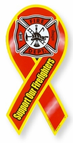 Support Firefighters Ribbon Magnet