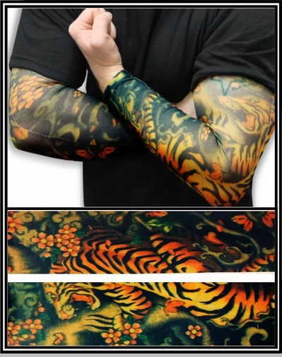 Tattoo Sleeves - Tiger and Lotus Temporary Tattoo Sleeves (Pair)<!-- Click to Enlarge-->