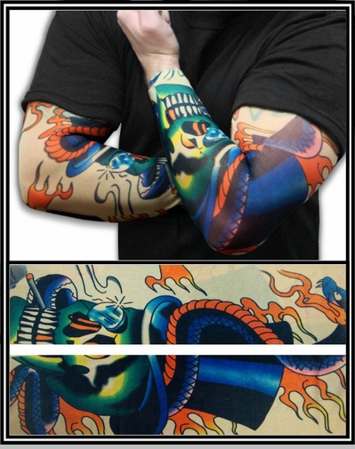 Tattoo Sleeves - Top Hat Skeleton Temporary Tattoo Sleeves (Pair)<!-- Click to Enlarge-->