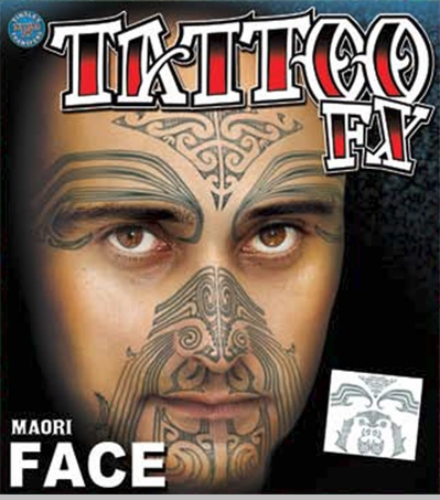 Temporary Face Tattoos - Maori Full Face Tattoo<!-- Click to Enlarge-->