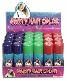 Temporary  Spray In Hair Color with Glitter (Box of 24)  (Only $1.95 a Can!)