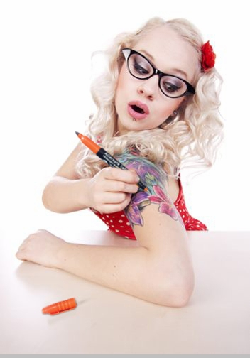 Temporary Tattoo - Deluxe Temporary Tattoo Pen Kit - 36 piece Set <!-- Click to Enlarge-->